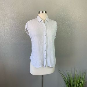 Rails pin stripe button front short sleeve top XS